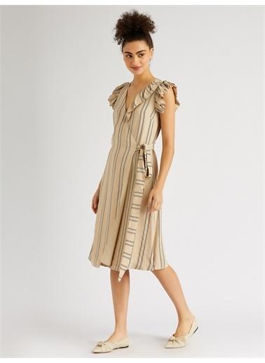 Vekem-Limited Edition Kolsuz Midi Anvelop Elbise Bej